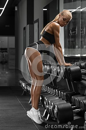 Free Athletic Girl Working Out In Gym. Fitness Woman Doing Exercise. Beautiful In Thong Stock Image - 133352981