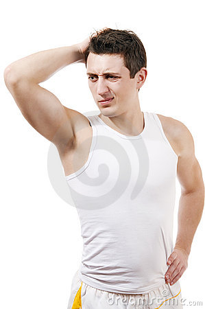 Athletic man with thinking expression white isola