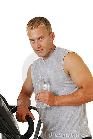 Athletic man on a treadmill