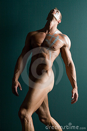 Athletic nude male body builder