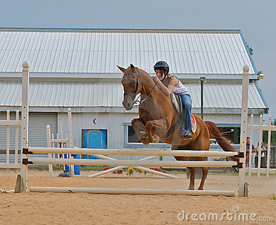 Athletic teen girl jumping a horse over rails.
