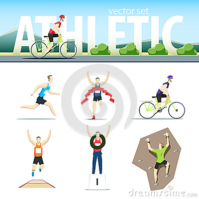 Free Athletic Vector Set With Different Sportsmen: Cyclist, Rock Clim Stock Photo - 60675920