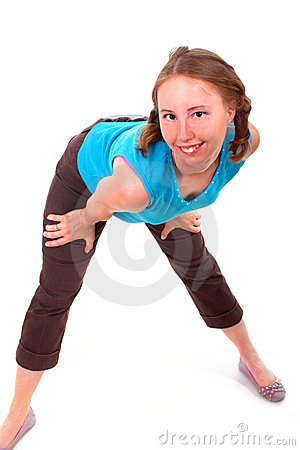 Athletic woman in sexual pose