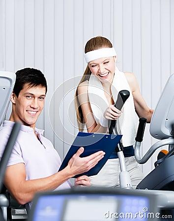 Athletic woman training in gym