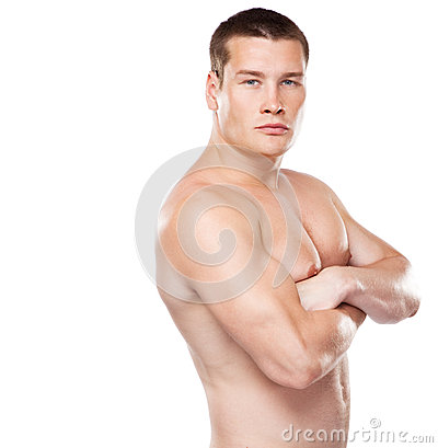 Athletic young man studio portrait