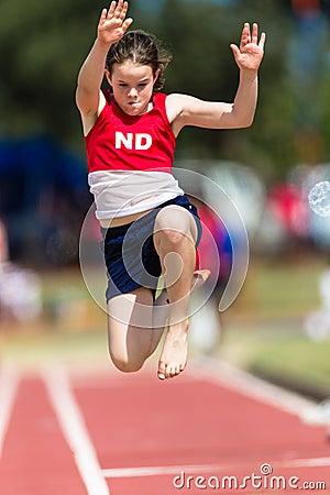 Free Athletics Long Jump Girl Flight Royalty Free Stock Photos - 26591318