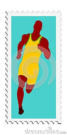 Athletics. Vector stamp