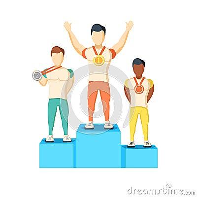 Free Athletics Winner Podium Athletes Royalty Free Stock Image - 73007856