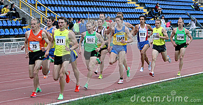 Athlets compete in 1500 meters race Editorial Stock Photo