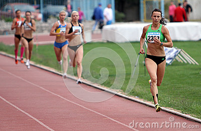 Athlets compete in 800 meters race Editorial Stock Photo