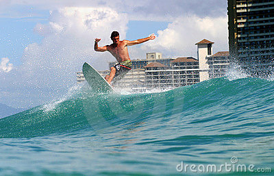 Atilla Jobbagyi Surfing at Waikiki, Hawaii Editorial Photo