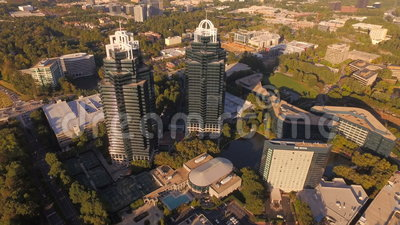 Atlanta Aerial. V92 Flying towards and over King & Queen buildings panning down
