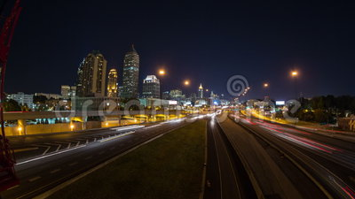 Atlanta Cityscape Time Lapse Pan. V1. Very cool panning time lapse across entire bridge with Atlanta cityscape and traffic in background