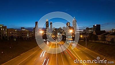 Atlanta Cityscape Time Lapse Zoom. V6. Zooming Atlanta cityscape time lapse stock video footage