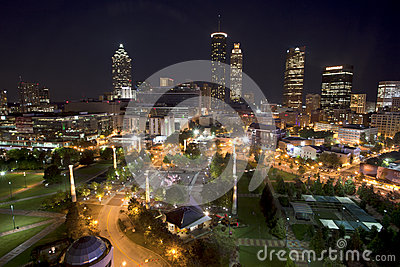 Atlanta Georgia overlooking Centennial Olympic Park Editorial Stock Photo