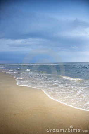 Atlantic ocean beach scene.