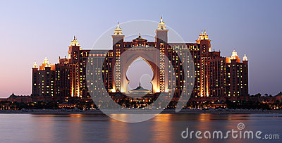 Atlantis Hotel illuminated at night, Dubai