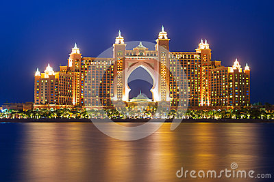 Atlantis hotel iluminated at night in Dubai Editorial Photo