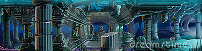 Atlantis ruins. Underwater background.