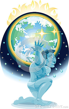Atlas holding up the earth heated by global wramin