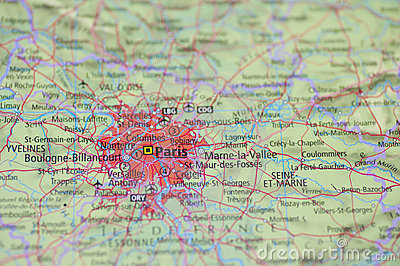 Atlas Map Paris Royalty Free Stock Images - Image: 21415479