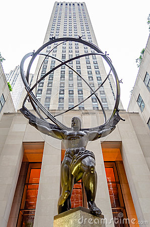 Atlas Statue in Rockefeller Center Editorial Stock Photo