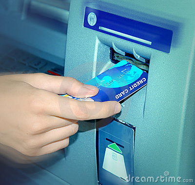 ATM. Inserting A Card.