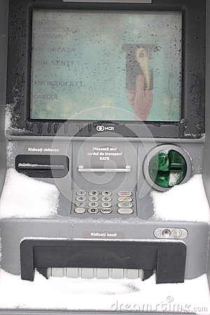 ATM machine blizzard snow Editorial Stock Image