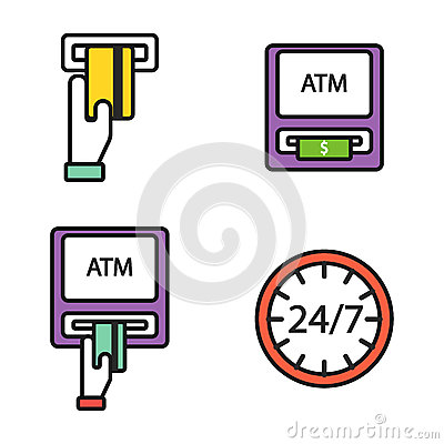 Free ATM Pos-terminal With Hand Credit Card Icons Payment Transfer Mobile Service And Automatic Terminal Money Currency Cash Royalty Free Stock Photo - 88464065