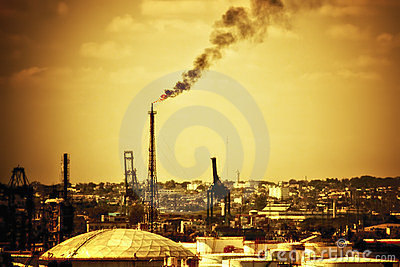 Atmosfery nafciana zanieczyszczania rafineria