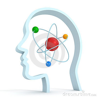 Atom molecule science symbol brain human head