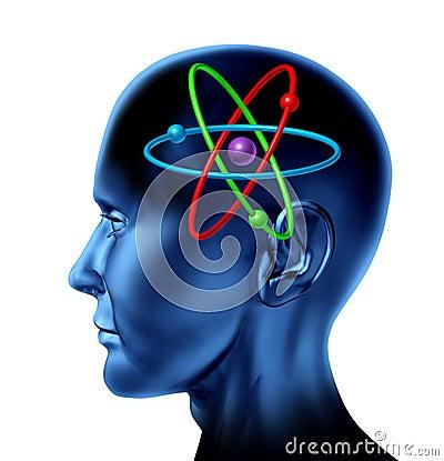 Atom molecule science symbol brain scientific mind