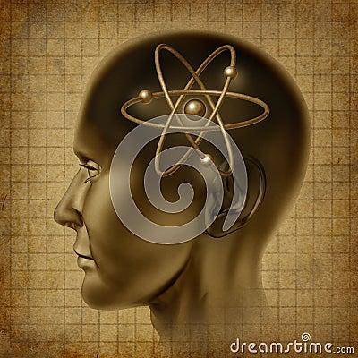 Atom molecule symbol brain  old
