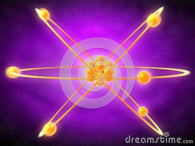 Atom in orange