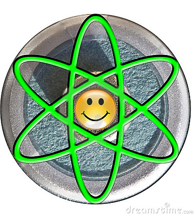 Atom symbol with smiley face nucleus