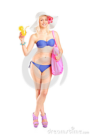Atractive blond woman in swimsuit