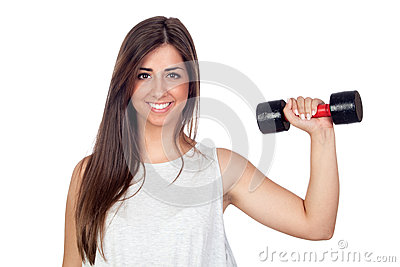 Atractive girl training in the gym