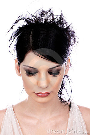 Atractive young woman with false eyelashes