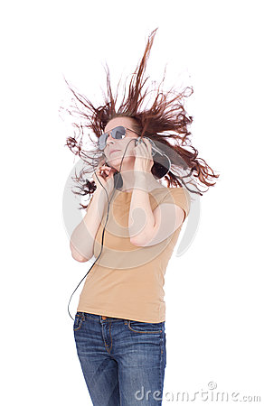 Atracttive woman with long hairs listen music