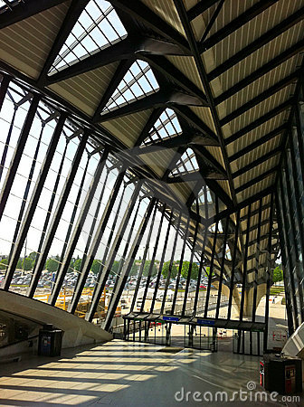 The Atrium of the Saint-Exupery Station in Lyon Editorial Stock Image