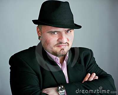 Atrractive man in black hat