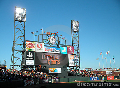 ATT Park HDTV Scoreboard display Editorial Stock Photo