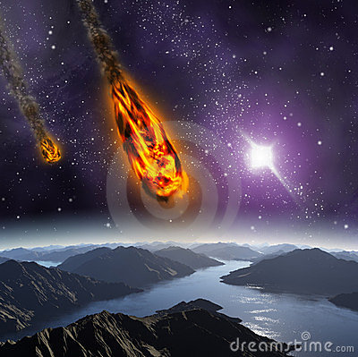 Attack of the asteroid on the planet.