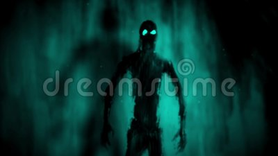 Attack zombies inside tomb. Blue background stock video footage