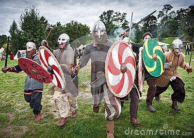 Attacking medieval knights in hauberk Editorial Stock Photo
