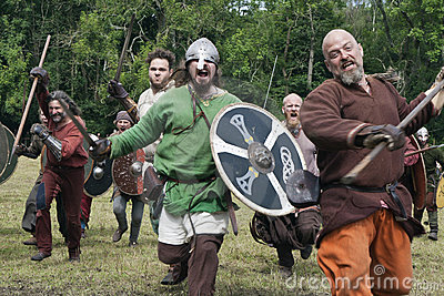 Attacking Vikings at Moesgaard Editorial Stock Photo