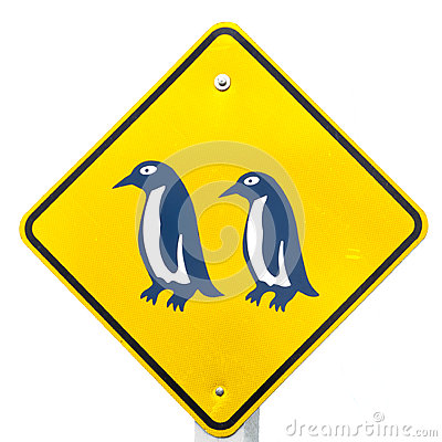 Attention Blue Penguin Crossing Road Sign