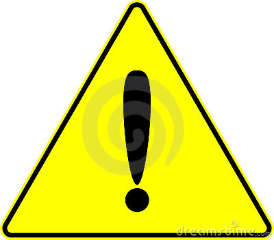 Attention caution exclamation yellow vector sign