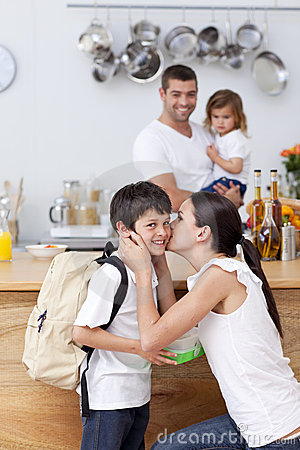Free Attentive Mother Giving School Lunch To Her Son Royalty Free Stock Photography - 14836107