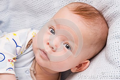 Attentive sight of the six-month-old child